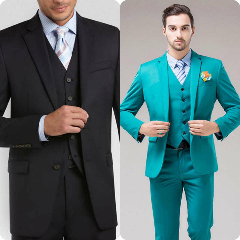 színes és modern vőlegény öltöny ruházat öltözék